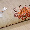 彼岸花の刺繍名古屋帯 質感・風合