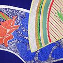 扇面に菖蒲とキリギリス夏袋帯 前柄