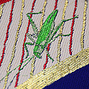扇面に菖蒲とキリギリス夏袋帯 質感・風合