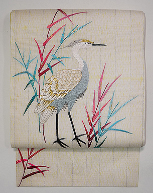 白地白鷺の刺繍名古屋帯