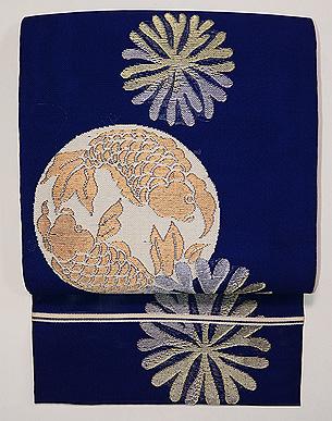 藍地海松に双魚紋の袋帯