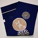 藍地海松に双魚紋の袋帯 帯裏