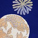 藍地海松に双魚紋の袋帯 質感・風合