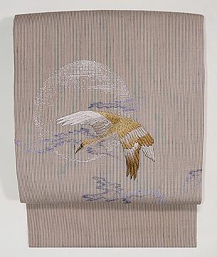 縞地月に雁刺繍の名古屋帯