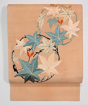 楓丸紋刺繍名古屋帯