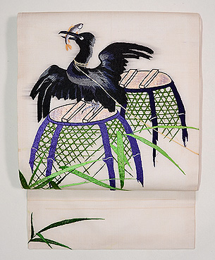 鵜刺繍紗名古屋帯