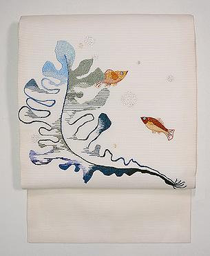 魚とわかめの図刺繍絽名古屋帯