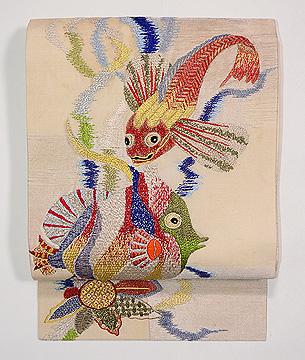 魚エンゼルフィッシュとカサゴの刺繍夏名古屋帯