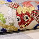魚エンゼルフィッシュとカサゴの刺繍夏名古屋帯 質感・風合