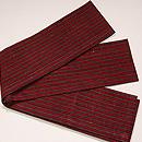 浦野理一作 紅色地栗色縞織半幅帯 質感・風合