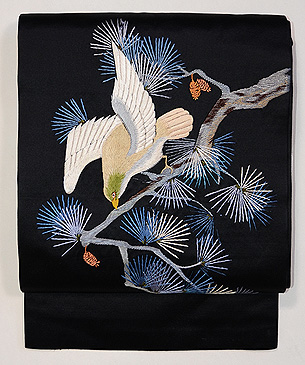 松に鳥の図刺繍名古屋帯