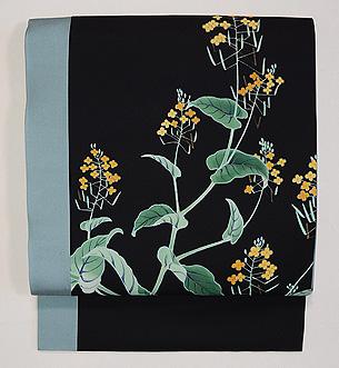 菜の花の図染名古屋帯