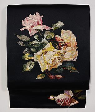 薔薇刺繍黒繻子名古屋帯