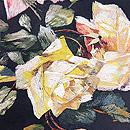 薔薇刺繍黒繻子名古屋帯 質感・風合
