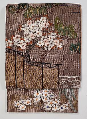 桜風景文様刺繍袋帯