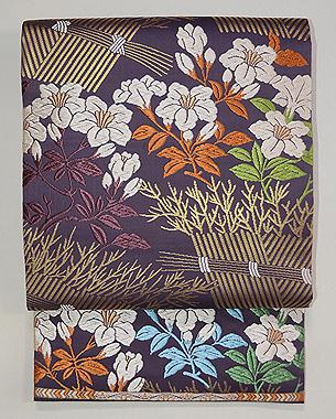 山口織物製 柴垣に躑躅(つつじ)文様唐織袋帯