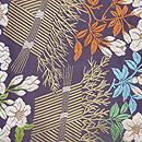 山口織物製 柴垣に躑躅(つつじ)文様唐織袋帯 前柄