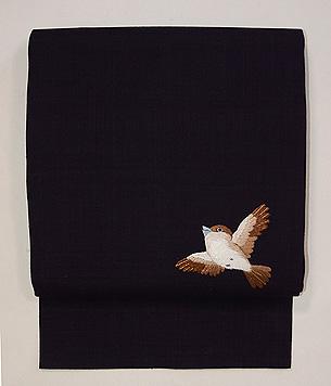 雀1羽の名古屋帯