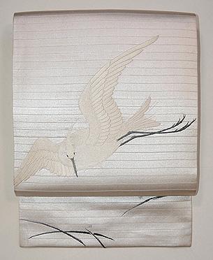 白鷺の刺繍名古屋帯