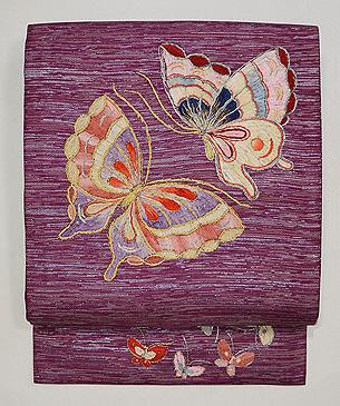 リボン刺繍蝶々の名古屋帯
