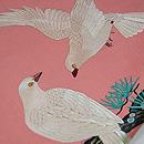 ピンク地白鳩の刺繍名古屋帯 質感・風合