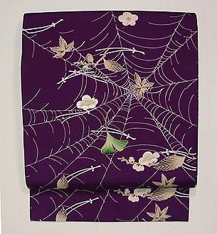 吹き寄せに蜘蛛の巣文様名古屋帯