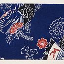 浦野理一作 紬縮緬地扇面に菊とボタンの型染め名古屋帯 前柄