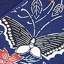 浦野理一作 紬縮緬地桜に蝶の型染め名古屋帯 質感・風合