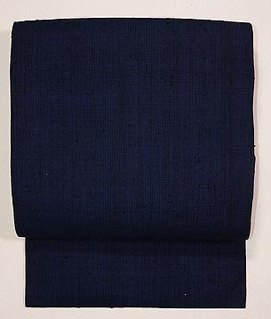 浦野理一作 縦節紬藍濃淡の微塵縞名古屋帯