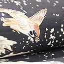 雪景色に雀と隠れ蓑の図小袖崩し名古屋帯 質感・風合