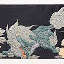 唐獅子と牡丹の刺繍名古屋帯 前柄