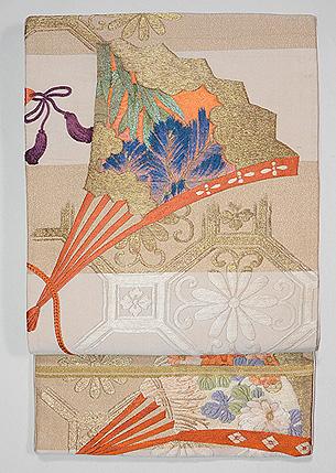 檜扇と地紙の刺繍綴れ袋帯