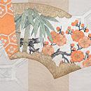 檜扇と地紙の刺繍綴れ袋帯 前柄