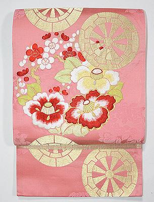 花車刺繍袋帯
