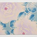 縮緬紫の薔薇名古屋帯 前柄