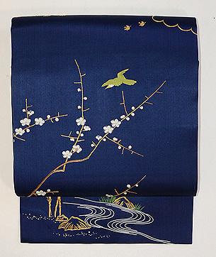 梅に鶯と蔦唐草の小袖くずし名古屋帯