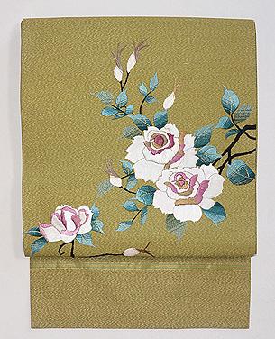 白薔薇と蕾の刺繍名古屋帯