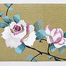 白薔薇と蕾の刺繍名古屋帯 前柄