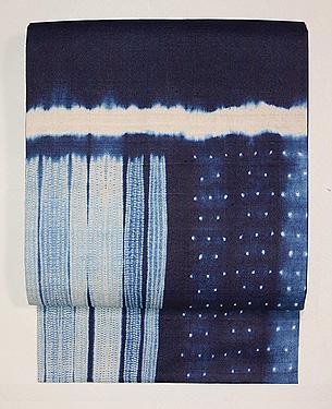インド藍染め絞り名古屋帯
