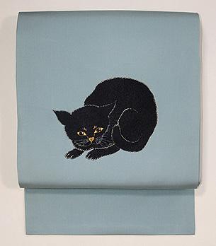 黒ネコの刺繍名古屋帯