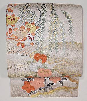 柳に橘刺繍の名古屋帯