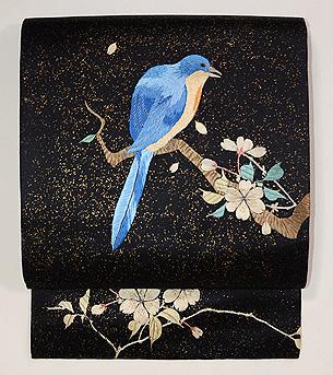 桜木に青い鳥刺繍名古屋帯