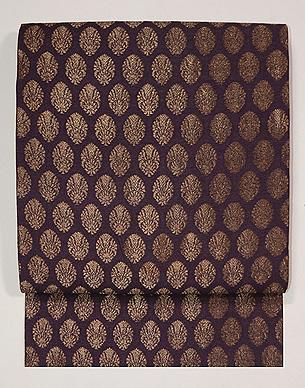 紫根色紋織りの名古屋帯
