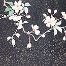 桜木に青い鳥刺繍名古屋帯 前柄