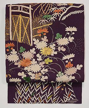 古代紫に秋草文様江戸裂名古屋帯