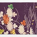 古代紫に秋草文様江戸裂名古屋帯 前柄