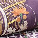 古代紫に秋草文様江戸裂名古屋帯 質感・風合