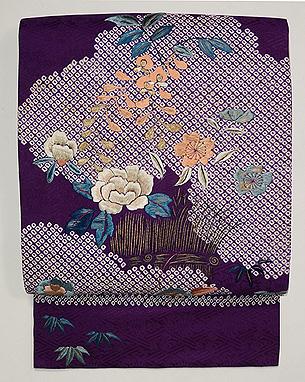 紫地疋田にお花の名古屋帯