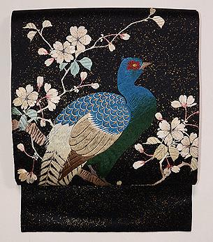 黒地桜に雉の刺繍名古屋帯