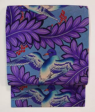 青い鳥の染め名古屋帯